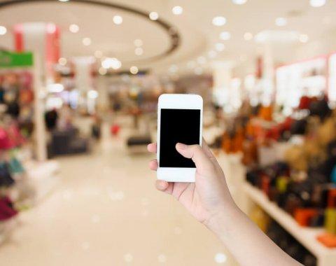 Les téléphones portables dans les magasins