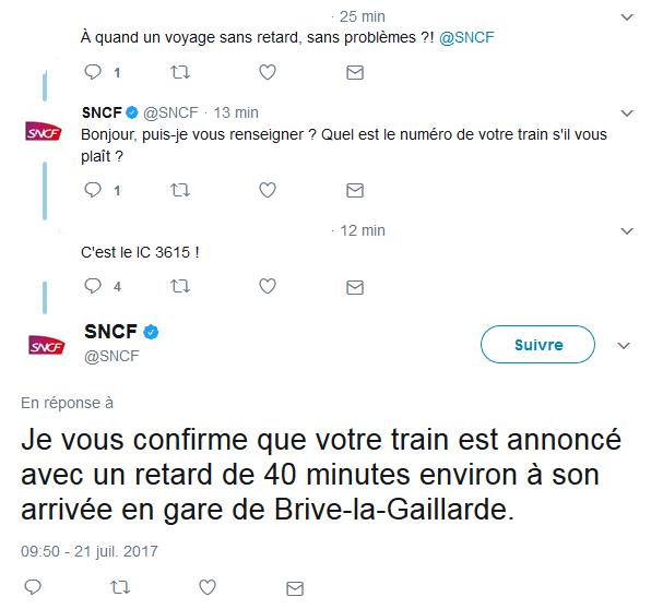 Exemple de Tweet de la SNCF