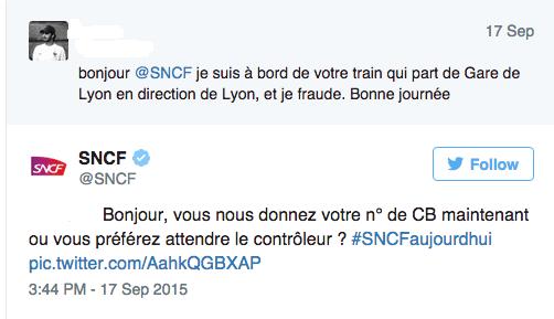 Réponse ironique de la SNCF