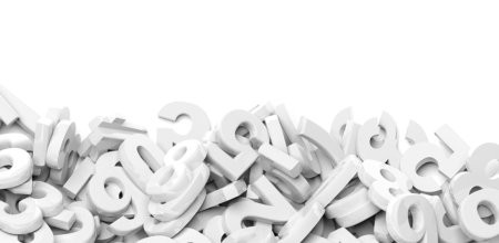 Numbers fell down in a pile with copy-space, isolated on white b